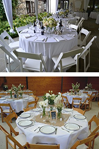 YooDaa Linen 70 inch Round Tablecloth, Polyester Washable Table Cloth for Restaurant Banquet Parties Wedding White (1 pc)