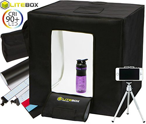 LITEBOX Product Photography Kit: Pro-240 DIY Light Box System for Professional Product Images includes DIMMABLE LED Lighting System, PREMIUM Quality Backdrops, Tripod & Travel Bag - 24