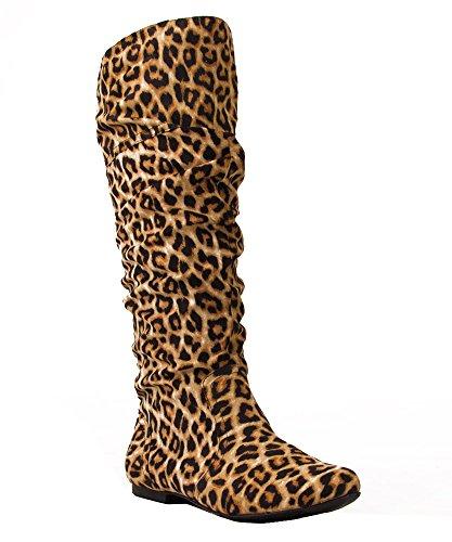 RF ROOM OF FASHION Medium Calf Slouchy Knee High Boot Camel Leopard (11)
