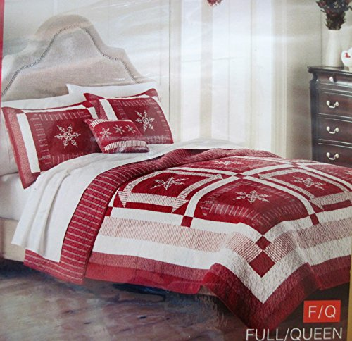 - St. Nicholas Square Red/White Snowflake Holiday Collection Quilt, Full/Queen