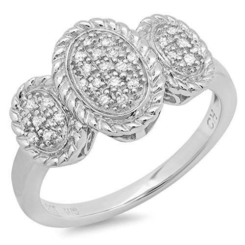 Parade of Jewels Sterling Silver Diamond Three Dome Cocktail Ring (0.14 cttw, K-L Color, I2-I3 Clarity), Size 7