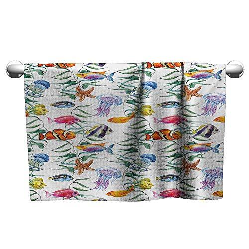 - alisoso Jellyfish,Sweat Towel Tropical Coral Reef with Seaweed Algae Jellyfish Aquatic Saltwater Nemo Theme Quick-Dry Towels Multicolor W 28