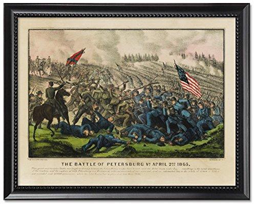 Framed Print 8x10: The Battle Of Petersburg Va. April 2nd (Currier & Ives Glass Print)