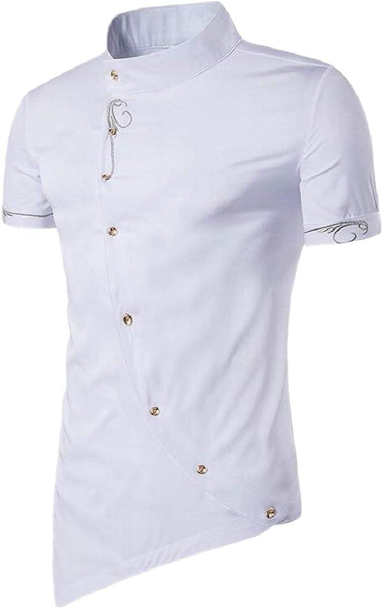RRINSINS Men Short Sleeve Mao Collar Button Down Assymetry Shirt