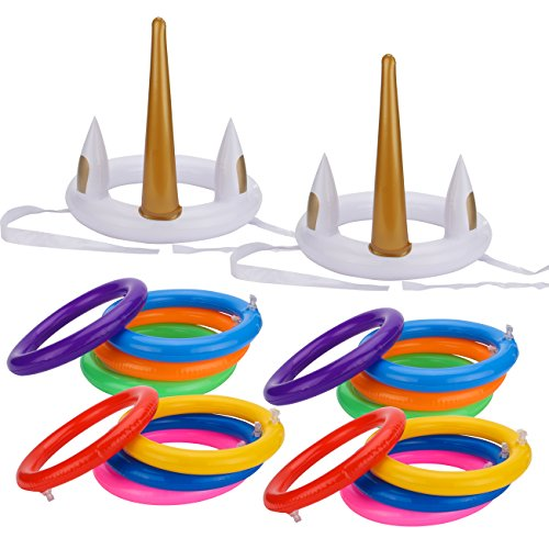 Grobro7 18 Pcs Unicorn Ring Toss Pool Game for Kids, Funny Family Game Set and Pool Party Favor Supplies by Grobro7