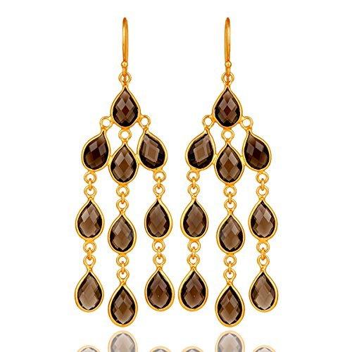 (Gold Plated 925 Smoky Quartz Chandelier Earrings for Women Designer Jewelry)