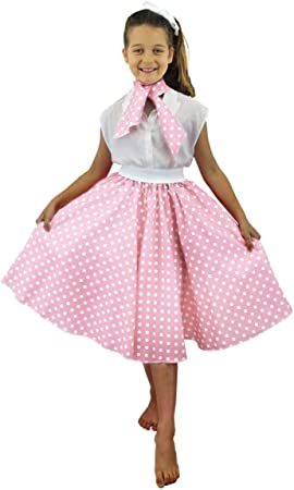 I LOVE FANCY DRESS LTD Falda Longa Rosa Claro con Puntos Blancos ...