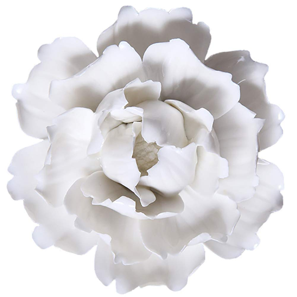 ALYCASO Ceramic Flower Pediments Sculpture Wall Decoration for Living Room Bedroom Hanging 3D Wall Art, A - White, 5.9 inch by ALYCASO