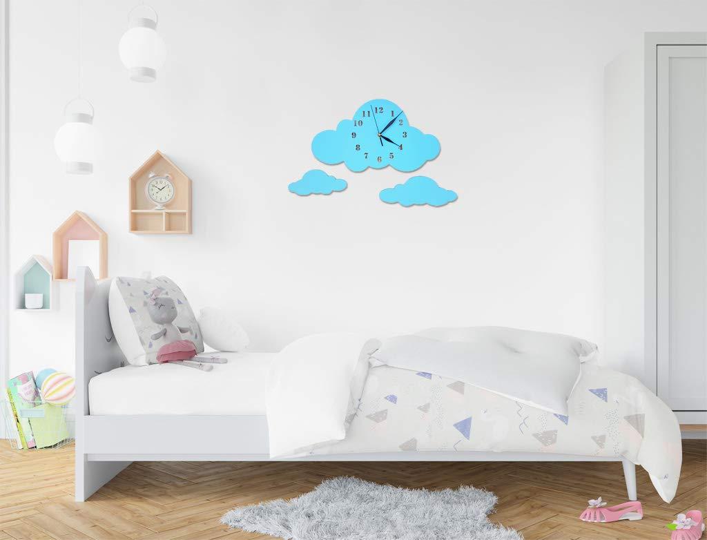 Uhr ohne Tickger/äusche Wanddeko Scandi Deko Junge Blau Lautlos Uhrwerk BABEES Kinder Wanduhr Ballon mit Wolken Kinderuhr Hei/ßluftballon f/ür Kinderzimmer