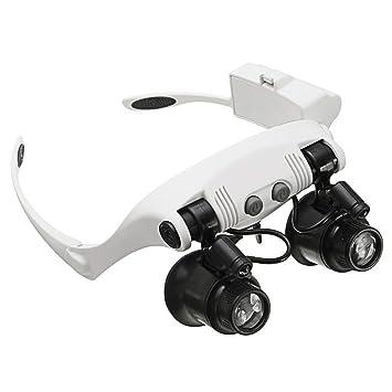 Gafas Lupa con Luz 2 LED y 4 Lentes Intercambiable 10X 15X 20X 25X - Lupa