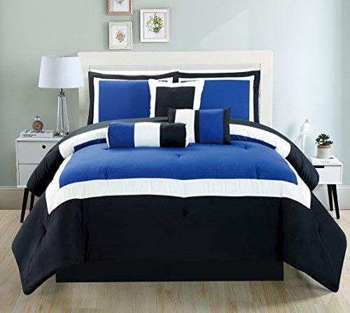 Grand Linen 7 Piece Full Size (Double Bed) Navy Blue/Black/Grey Color Block Milan Goose Down Alternative Comforter Set 88 X 86 Bedding + Accent Pillows