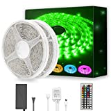 DAYBETTER Led Strip Light Waterproof 600leds 32.8ft 10m Waterproof Flexible Color Changing RGB SMD 5050 600leds LED Strip Light Kit with 44 Keys IR Remote Controller and 12V Power Supply: more info