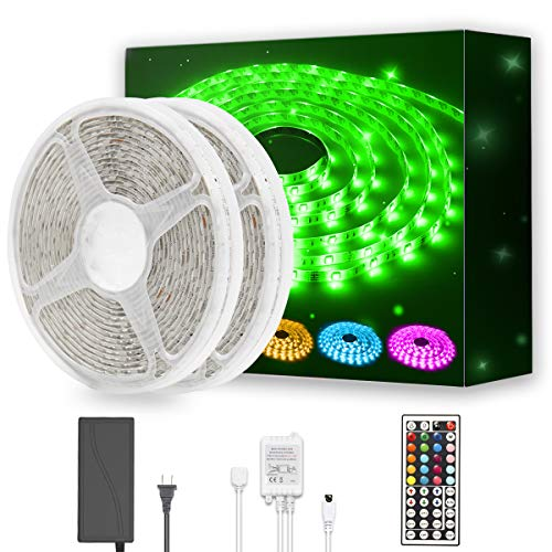 DAYBETTER Led Strip Light Waterproof 600leds 32.8ft 10m Waterproof Flexible Color Changing RGB SMD 5050 600leds LED Strip Light Kit with 44 Keys IR Remote Controller and 12V Power Supply (Led String Lights Of)