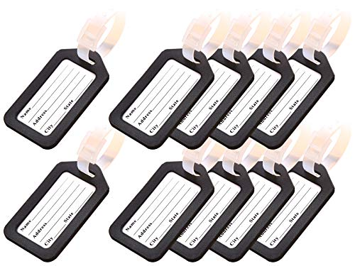 Key Tags, Identifiers Labels For Luggage Suitcases Bags, PVC Travel Baggage Tag Set 10 Pack Color Black