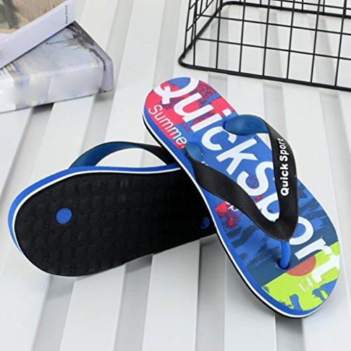 QinMM Hommes Flip-Flops Tongs Pantoufles Lettres Camouflage Cool Ville Chaussures de Plage, Sandale Bout Ouvert Été Mode Bas Antidérapant Imperméable Coulisses Peep-Toe Souple Bleu
