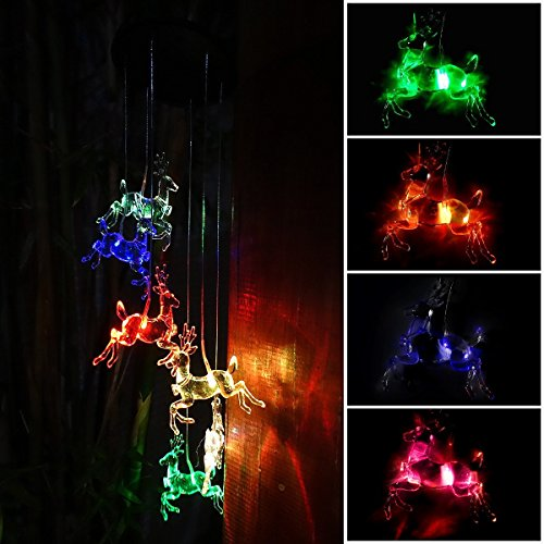 - Solar Deer Wind Chimes Outdoor,LED Color Changing Solar Lights Outdoor Decor Mobile Wind Spinner Wind Chimes for Home Party Night Garden Decoration