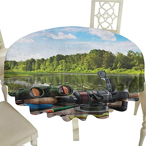Cranekey Spots Round Table Cloth 54 Inch Hunting,Fishing Tackle on a Pontoon Lake in The Woods Trees and Greenery Freshwater Hobby Multicolor Great for,Wedding & More (Best Fishing Spots In Ohio)