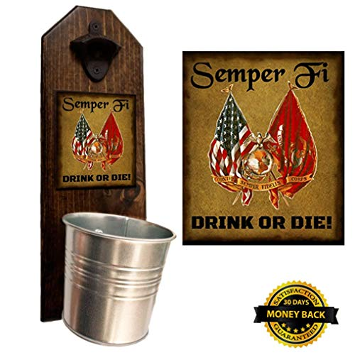 """Marine Semper Fi"" Bottle Opener and Cap Catcher, Wall Mounted – Handcrafted by a USMC Vet – Solid Pine 3/4″ Thick – Rustic Cast Iron Opener & Galvanized Bucket – Great Gift – Ooh Rah!"