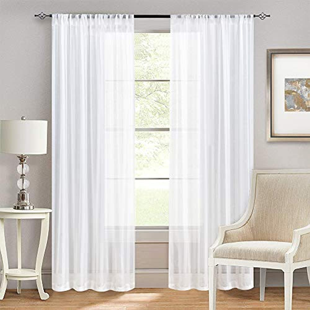 Striped White Sheer Curtains Bedroom 63 Inches Long Window