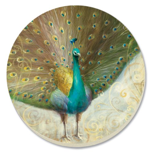 Peacock Coasters (CounterArt Decorative Absorbent Coasters, Teal Peacock, Set of 4)