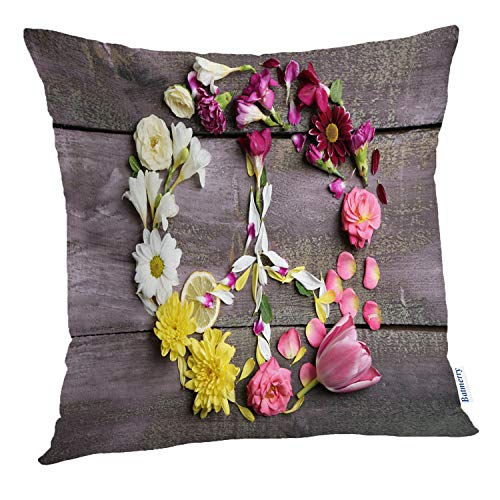 (Batmerry Spring Pillows Decorative Throw Pillow Covers 18x18 Inch, Peace Symbol Beautiful Wooden Peace Flower Sign Symbol Nature Pink Double Sided Square Pillow Cases Pillowcase Sofa Cushion)