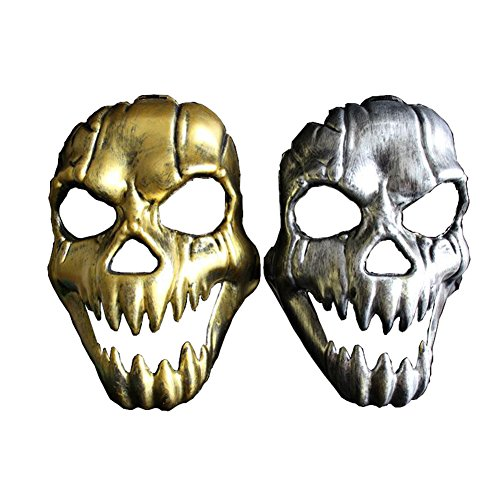 Tuliptown Scary Ghost Skull Skeleton Face Mask for Halloween Cosplay Party Costume (Gold Halloween Mask)