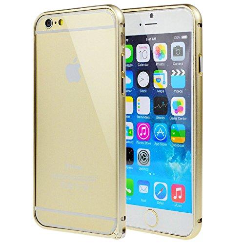 LANSUNS Premium Luxury Ultra Thin Aluminum Metal Arc Frame Bumper Cover Case for iPhone 6 Plus 5.5 inch (Gold)