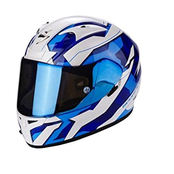 Scorpion Casco Moto EXO-710 AIR Furio, Pearl White/azul, XS