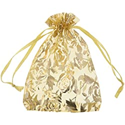 SumDirect Drawstring Organza Bags, Jewelry Favor Pouches with Gold Rose Print for Gift Wedding Party Festival,100Pcs,3.5x4.5inches,Gold