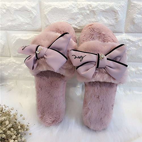 CHIC*MALL Platform Soft Warm Bowknot Slippers House Slippers Pink bAAdZ0xlD