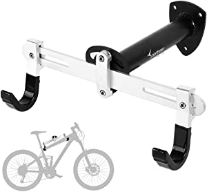 Sportneer Bike Wall Mount, Horizontal Metal Adjustable Bicycle Rack Holder Hook for Road Bike, Mountain Bike, Kids Bike's Indoor Storage