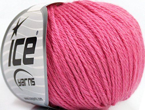 (Lot of 6 Skeins ICE Baby Merino DK (40% Merino Wool) Yarn Rose Pink)