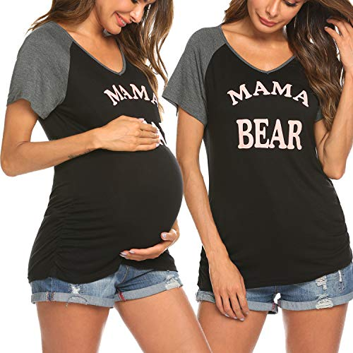 - Ekouaer Maternity T Shirts Cute Print Raglan Short Sleeve Pregnancy Top Novelty