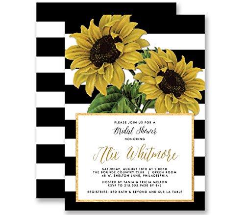 Sunflower Bridal Shower Invitations Modern Black & White Stripe Vintage Botanical Personalized Boutique Invites with Envelopes- Alix style