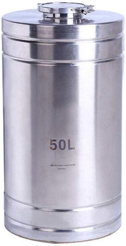 ステンレス鋼樽発酵槽ビール醸造装置多機能密閉水貯蔵バケット家庭用およびキッチン穀物貯蔵容器 (Color : Silver, Size : 10L)