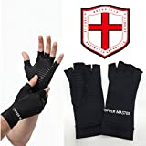 Arthritis Gloves Women- Copper Gloves For Men- Compression Gloves Recovery & Relieve For Arthritis, RSI, Carpal Tunnel, Swollen Hands, Tendonitis, Everyday Support & More- Fingerless Gloves/ Black/ L