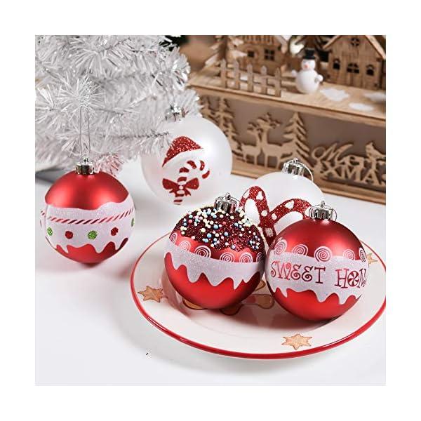 Valery Madelyn Palle di Natale 16 Pezzi 8cm Palline di Natale, Dolci Caramelle Rosse e Bianche Infrangibili Decorazioni per Palle di Natale per Decorazioni per Alberi di Natale 5 spesavip