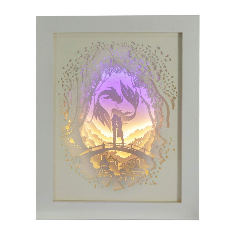 CDL 3D Paper Carving Lamp, Silhouette Engraving Shadow Night Light Remote Control Paper-Cut Light Box Warm Romantic Atmosphere Christmas Gife [Energy Class A]