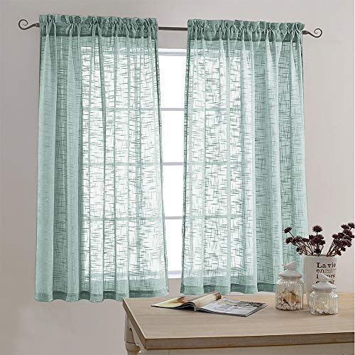 (Sheer Curtains Open Weave Linen Texture Curtains for Living Room 63 Inches Long Rod Pocket Voile Window Curtains Two Panels Blue Haze )