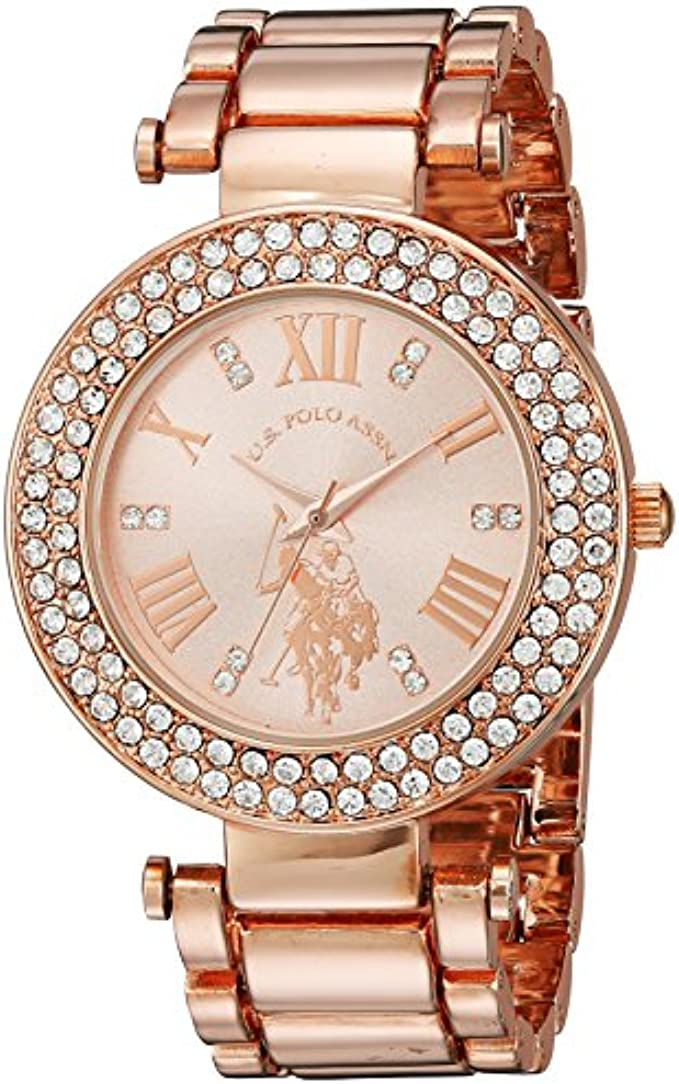 U.S. Polo Assn. Women's Analog-Quartz Watch with Alloy Strap, Rose Gold, 12 (Model: USC40115)