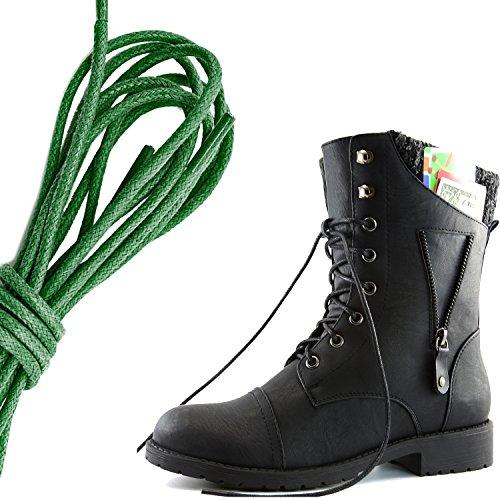 DailyZapatos Mujeres Military Lace Up Buckle Combat Botas Cremallera Sweater Tobillo High Exclusivo Bolsillo De La Tarjeta De Crédito, Dark Green Black Pu