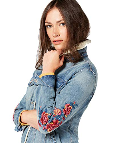 Style & Co. Flower-Embroidered Trucker Jacket Medium Blue