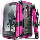 Evocel® DROID MAXX 2 Case [Generation Series] Rugged Holster [Kickstand & Belt Swivel Clip] + HD Screen Protector For DROID Maxx 2 XT1565/ Moto X Play (2015 Release), Pink (EVO-MOTXT1565-AB205)