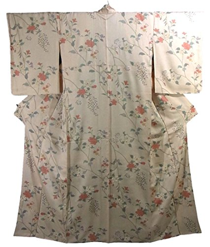 アトミック保険をかける計器リサイクル 着物 小紋 総柄 正絹 袷 花模様 裄68cm 身丈165cm