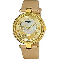 Akribos XXIV Reloj AKR434 Diamond Sunray para mujer con esfera de cuarzo y correa de cuarzo (Oro amarillo)