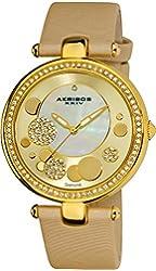 Akribos XXIV Women's AKR434YG Diamond Gold Sunray Diamond Dial Quartz Strap Watch