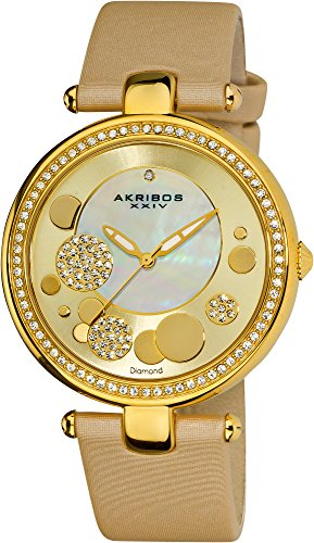 Akribos XXIV Women's AKR434YG Diamond Gold Sunray Diamond Dial Quartz Strap Watch