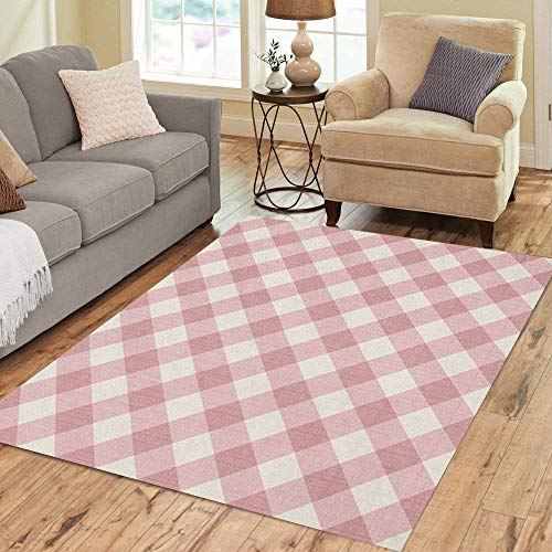 Pinbeam Area Rug Pink Pattern Checkered Red Gingham White Plaid Abstract Home Decor Floor Rug 2' x 3' Carpet