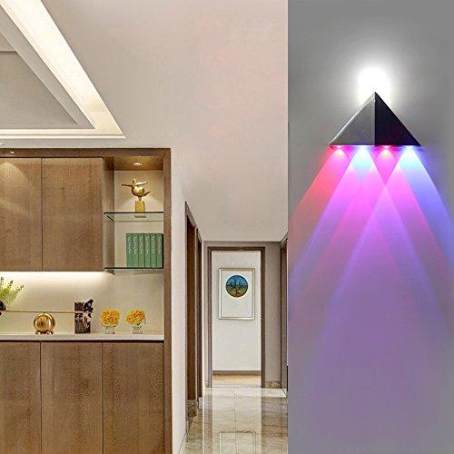 Lemonbest Modern 5W Triangle LED Wall Sconce Light Fixture Indoor Hallway Up Down Wall Lamp Spot Light Aluminum Decorative Lighting for Theater Studio Restaurant Hotel Multi-colored by LemonBest (Image #5)