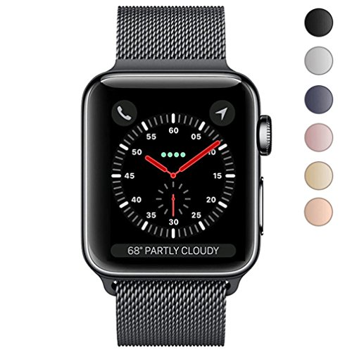 Apple Watch Band 42mm, KYISGOS Strong Magnetic Milanese Loop Stainless Steel Replacement iWatch Strap for Apple Watch Series 3 2 1 Nike+ Sport and Edition, Black Milanese Loop